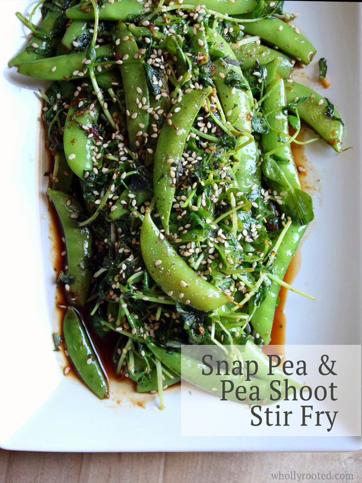 Snap Pea & Pea Shoot Stir Fry @whollyrooted.com