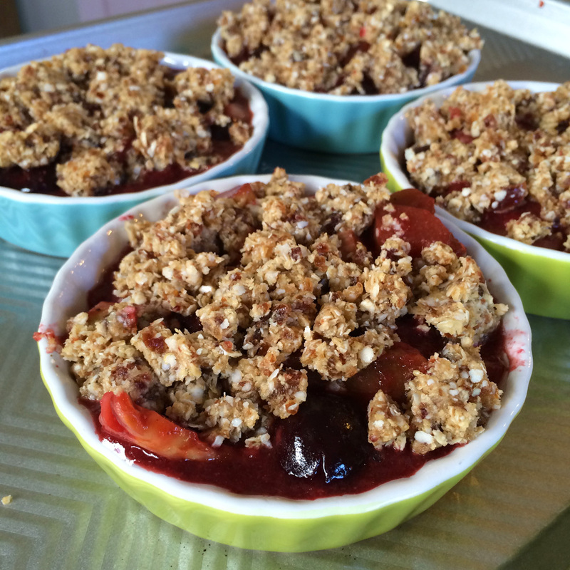 GF/DF Cherry Rhubarb Crumble {wholly rooted}